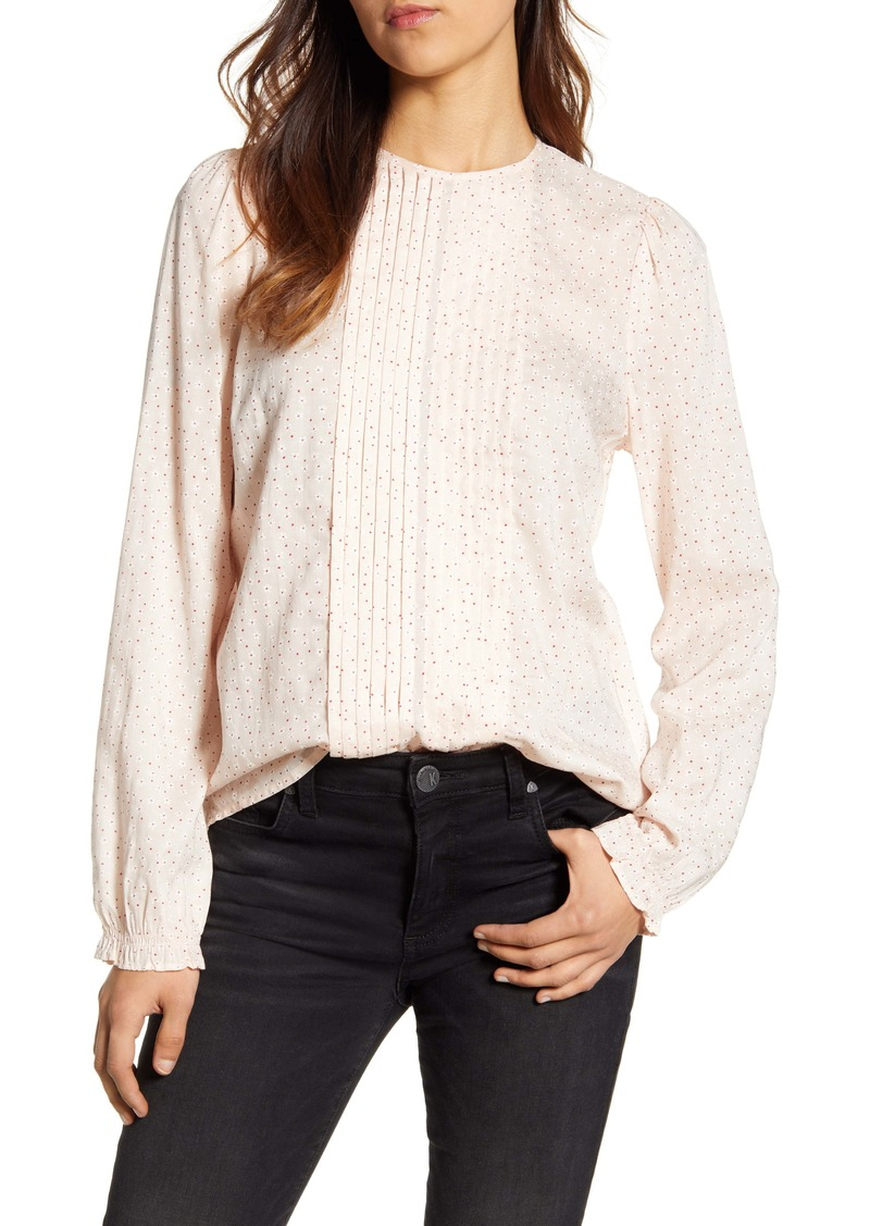 Lucky Brand Lea Floral Pintuck Long Sleeve Top