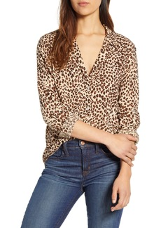 Lucky Brand Leopard Print Oversize Button Front Shirt