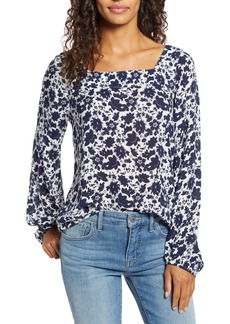 Lucky Brand Liane Floral Square Neck Top