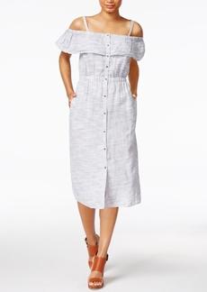Lucky Brand Linen Printed Off-The-Shoulder Dress