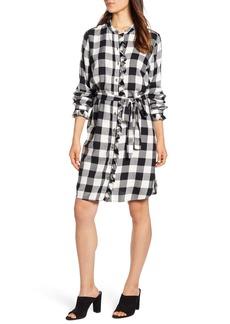 Lucky Brand Mackenzie Buffalo Plaid Long Sleeve Cotton Blend Shirtdress