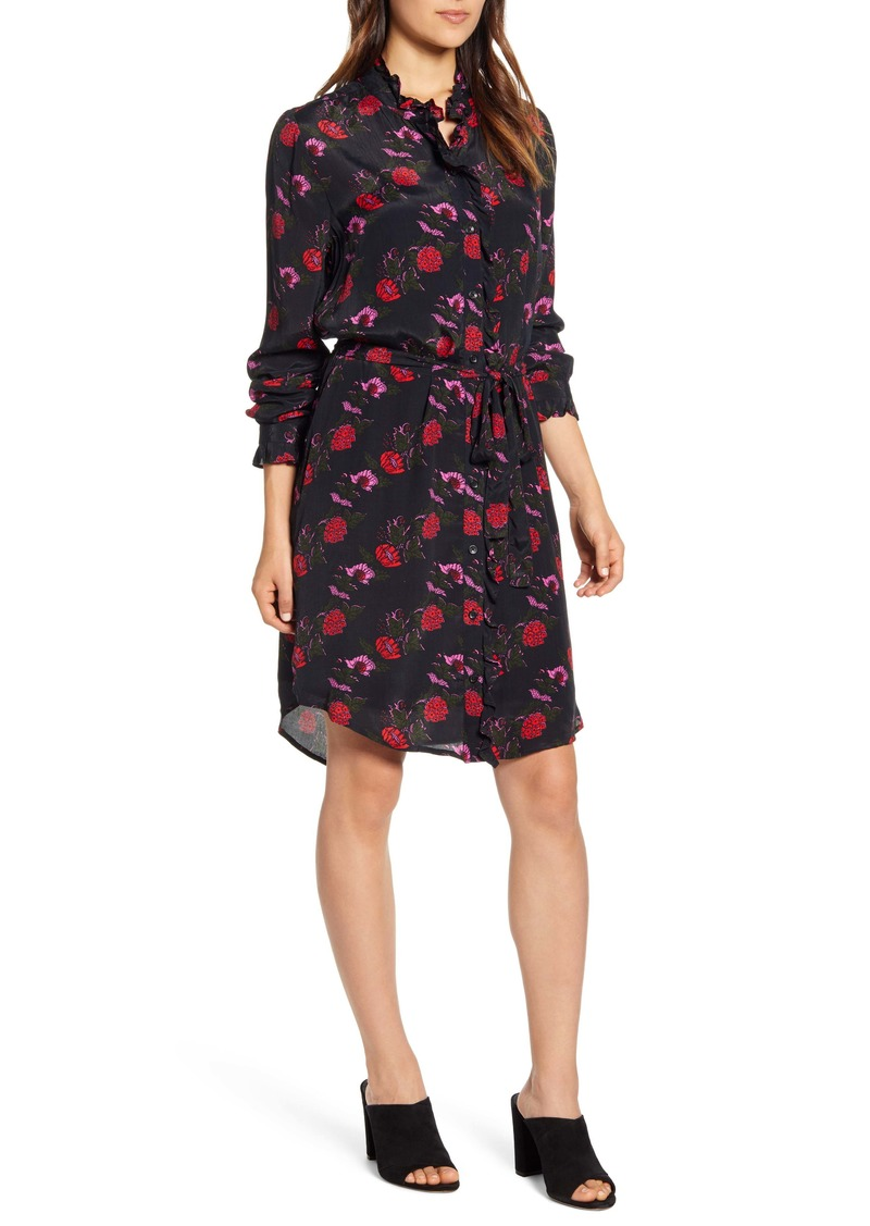 Lucky Brand Mackenzie Floral Long Sleeve Crepe Shirtdress