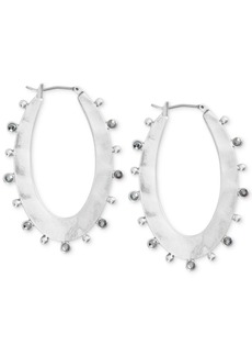 Lucky Brand Medium Silver-Tone Pave Textured Oval Hoop Earrings 1-4/5""