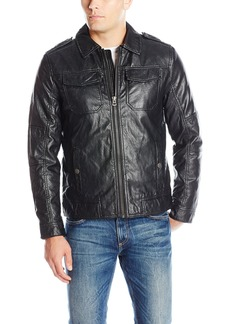 Lucky Brand Men's Amherst Faux Leather Moto Jacket  M