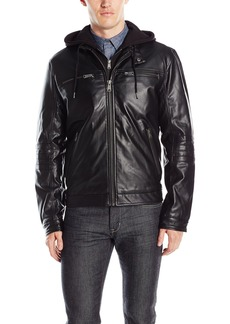 Lucky Brand Men's Archibald Faux Leather Moto Jacket  S