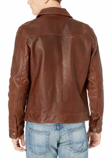 Lucky Brand Men's Aviator Leather Jacket  M