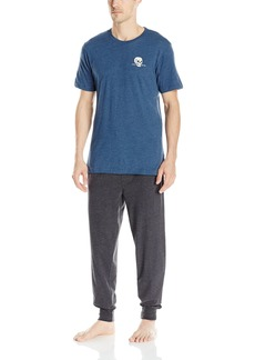 Lucky Brand Men's Black Label Gift Box: S/Cross Dye Crew Tee and Sueded Jogger Dark Denim Charcoal Heather