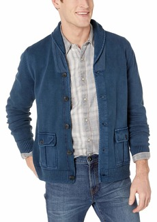 Lucky Brand Men's Button UP Military Shawl Collar Cardigan Sweater  L