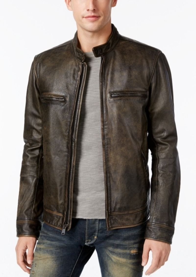 Lucky Brand Men's Cafe Racer Leather Moto Bomber Jacket