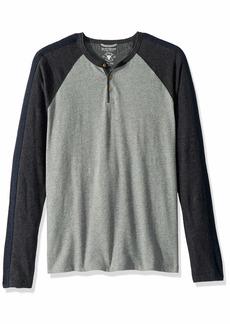 Lucky Brand Men's Casual Long Sleeve Colorblock Henley Heather Grey Body/CHQ SLV XL