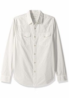 Lucky Brand Men's Casual Long Sleeve Dobby Button Down Western Shirt  S