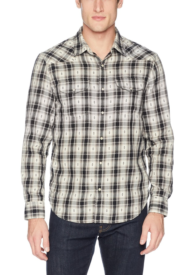 Lucky Brand Men's Casual Long Sleeve Dobby Western Button Down Shirt  M