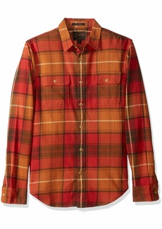 Lucky Brand Men's Casual Long Sleeve RED Plaid Workwear Button Down Shirt Orange XL