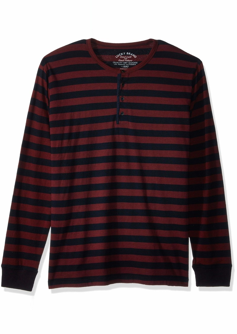 Lucky Brand Men's Casual Long Sleeve Stripe Henley Shirt red/Navy XL