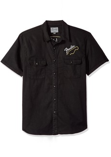 Lucky Brand Men's Casual Short Sleeve Button Down Shirt with Fender Graphic  M
