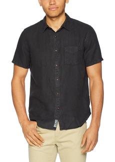 Lucky Brand Men's Casual Short Sleeve Linen Button Down Shirt  S