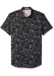 Lucky Brand Men's Casual Short Sleeve Printed Button Down Shirt Black XL