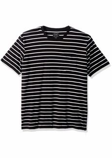 Lucky Brand Men's Casual Short Sleeve Stripe ONE Pocket Crew Neck TEE  M
