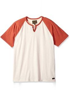 Lucky Brand Men's Colorblock Henley Shirt Heather Oat Body/red Sleeve S