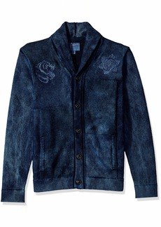 Lucky Brand Men's Embroidered Patchwork  Shawl Sweater XL