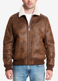 Lucky Brand Men's Faux-Leather Fleece-Lined Bomber Jacket