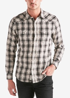 Lucky Brand Men's Geometric Dobby Plaid Western Shirt