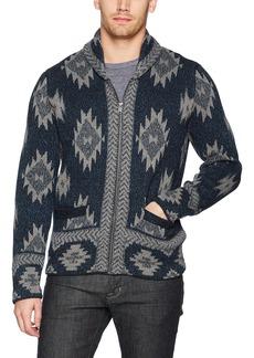 Lucky Brand Men's Indigo Intarsia Full Zip Cardigan Sweater Multi M