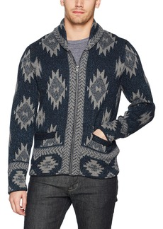 Lucky Brand Men's Indigo Intarsia Full Zip Cardigan Sweater Multi XL
