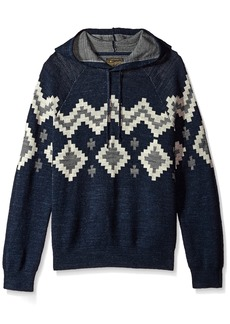 Lucky Brand Men's Intarsia Hooded Sweatshirt  XL
