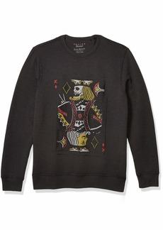 Lucky Brand Men's King Card Crew Neck Pullover Sweatshirt  L