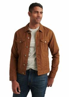 Lucky Brand Men's Long Sleeve Button Up Two Pocket Linen Blend Trucker Jacket  L