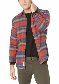 Lucky Brand Men's Long Sleeve Clean Two Pocket Button UP Workwear Shirt red Plaid XL