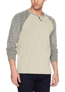 Lucky Brand Men's Long Sleeve Colorblock French Rib Button Notch Shirt Oat Body/Heather Grey SLV XL