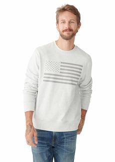 Lucky Brand Men's Long Sleeve Crew Neck USA Flag Sweatshirt  L