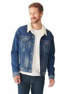 Lucky Brand Men's Long Sleeve Denim Sherpa Trucker Jacket  XL