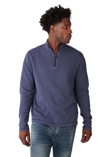 Lucky Brand Men's Long Sleeve French Rib Half Zip Mock Neck Pullover Sweatshirt  L