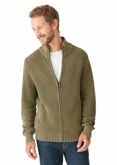 Lucky Brand Men's Long Sleeve Mock Neck Zip Front Washed Sweater