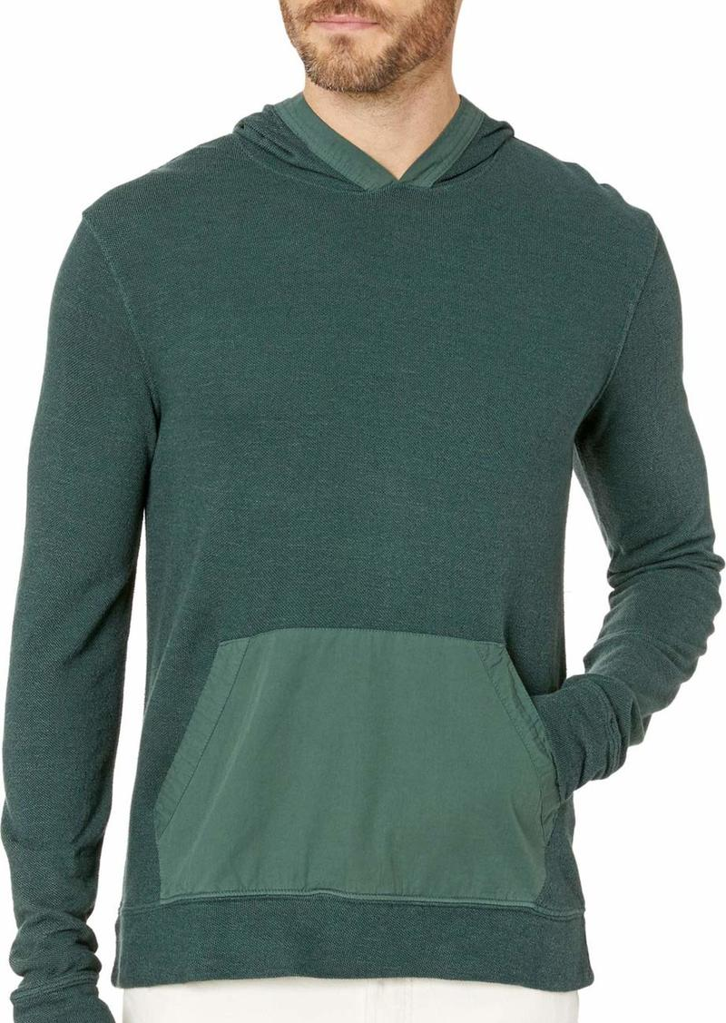 Lucky Brand Men's Long Sleeve Texture Terry Hoody with Woven Trim  S