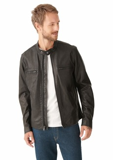 Lucky Brand Men's Long Sleeve Zip Front Waxed Leather Bonneville Jacket  S