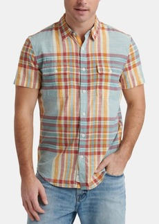 Lucky Brand Men's Madras Plaid Short Sleeve Shirt