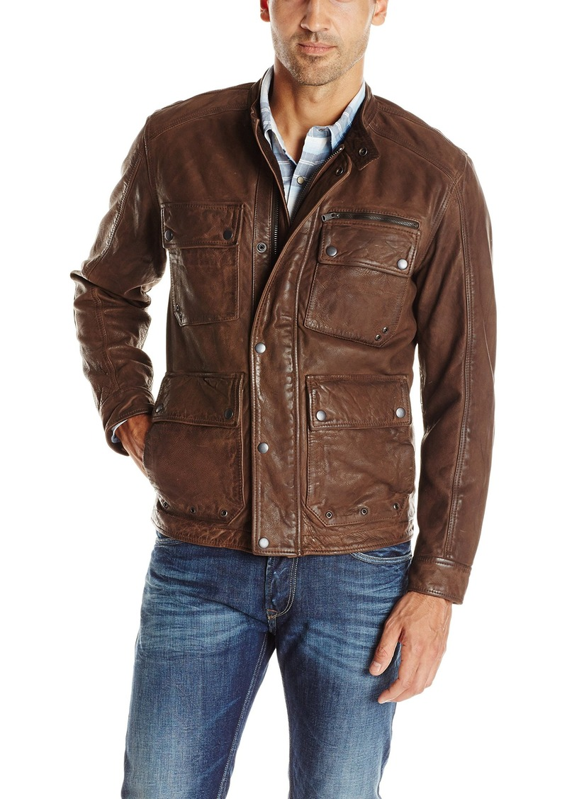 Lucky Brand Men's Manx Leather Jacket in  Large