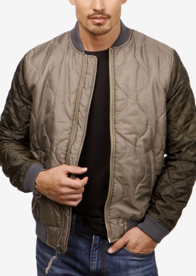 f9556312f Men's Quilted Colorblocked Bomber Jacket