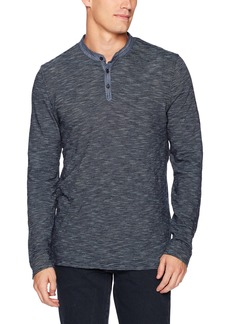 Lucky Brand Men's Refined Henley Shirt in Indigo Stripe Chambray