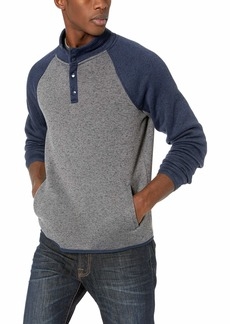 Lucky Brand Men's SHEARLESS Fleece Colorblock Mock Neck Sweatshirt  L