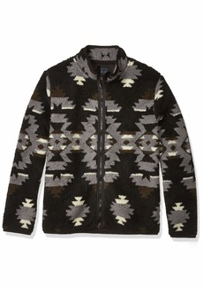 Lucky Brand Men's Sherpa Jacquard Full Zip Mock Neck Sweatshirt  S