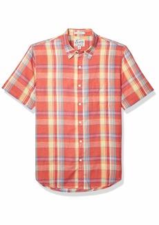 Lucky Brand Men's Short Sleeve Button UP Ballona Shirt Red/Yellow XXL