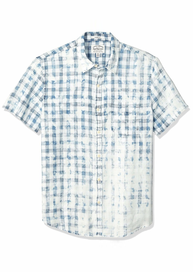 Lucky Brand Men's Short Sleeve Button UP Sugar Magic WASH Ballona Shirt  M