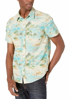 Lucky Brand Men's Short Sleeve Button UP Tropical ONE Pocket Shirt  XXL