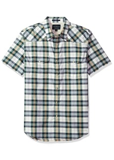 Lucky Brand Men's Short Sleeve Plaid Western Button Down Shirt in Green Multi Natural M