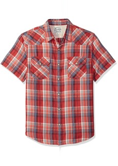 Lucky Brand Men's Short Sleeve Plaid Western Button Down Shirt in RED Multi Blue S